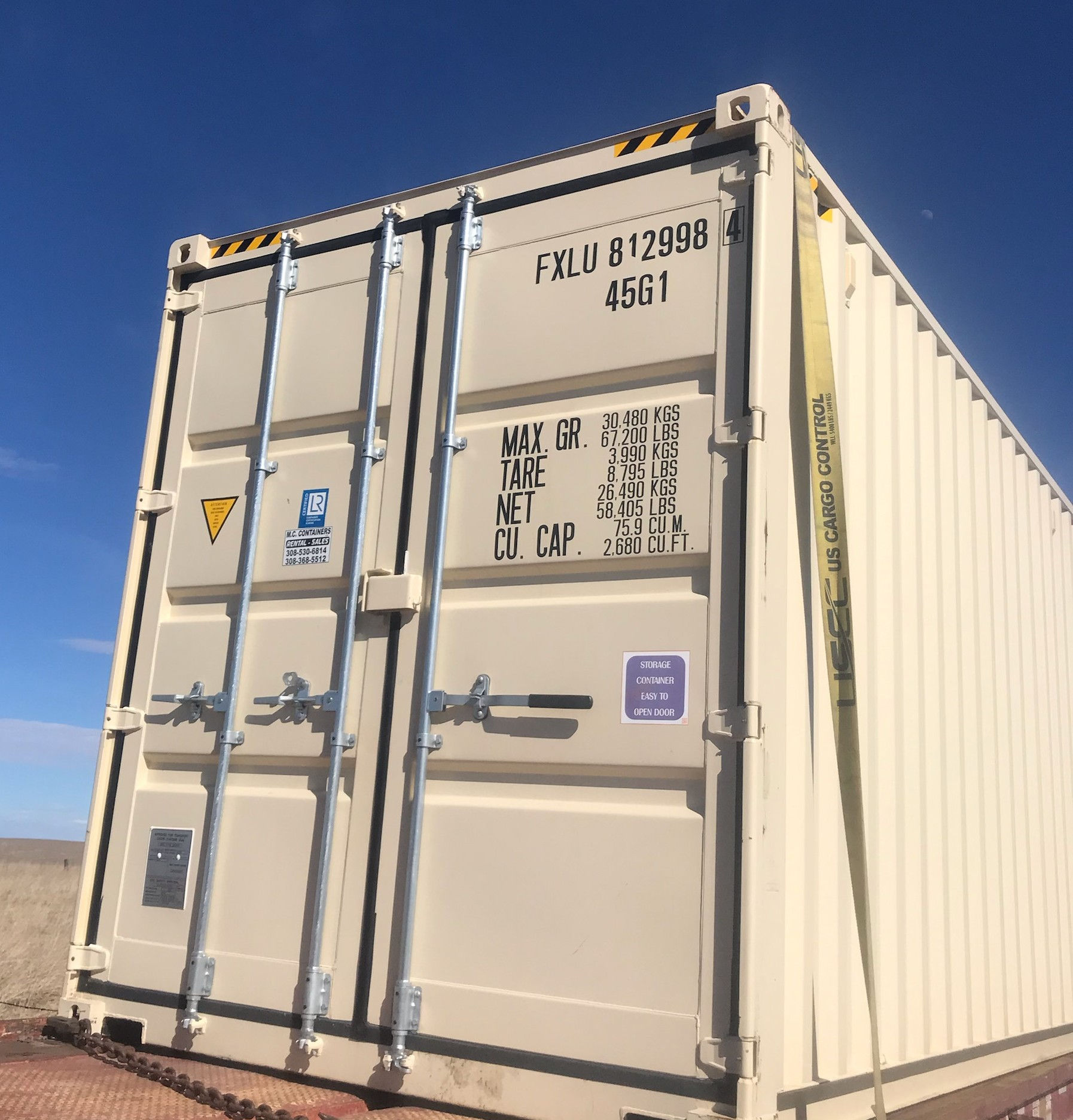 Temporary container rentals 20ft 40ft end view